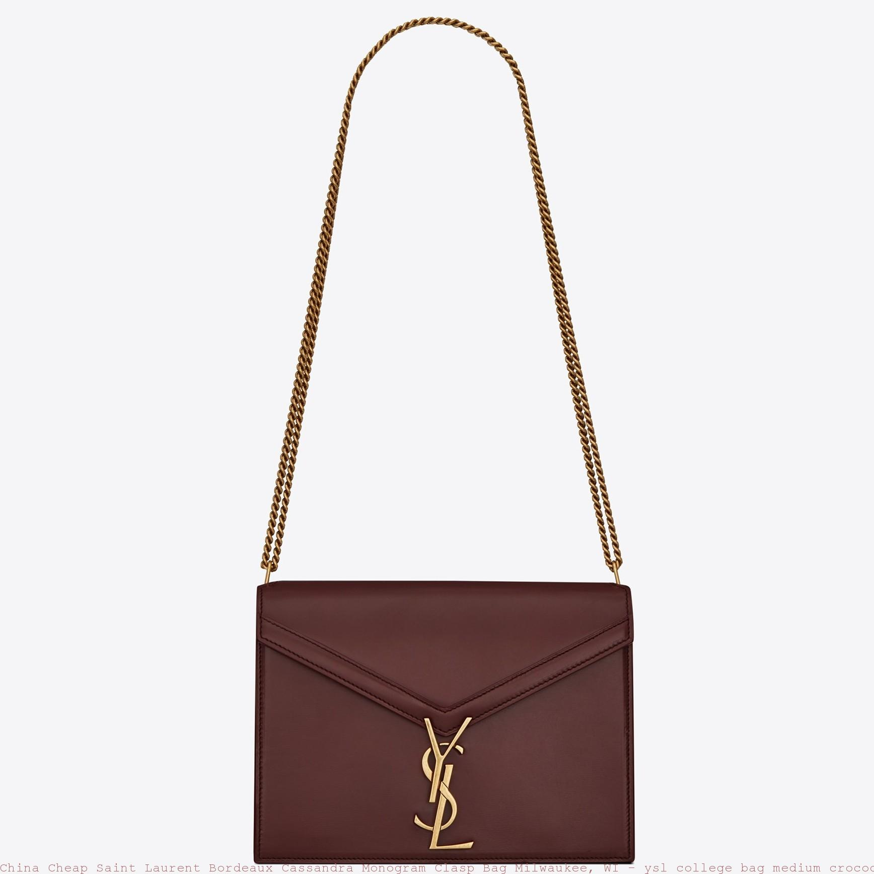 5d54d4a7a7 China Cheap Saint Laurent Bordeaux Cassandra Monogram Clasp Bag ...