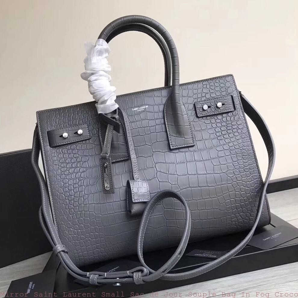 74014e3395 Mirror Saint Laurent Small Sac de Jour Souple Bag In Fog Crocodile Leather  Glendale, AZ - ysl evening bag sale - 1521
