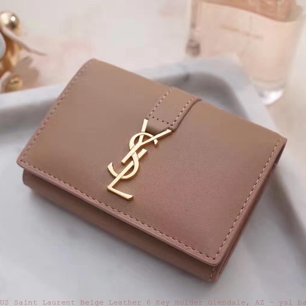 Us Saint Laurent Beige Leather 6 Key Holder Glendale Az